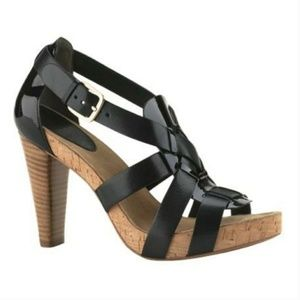 Cole Haan Strappy Black Leather Stacked Heels 8.5